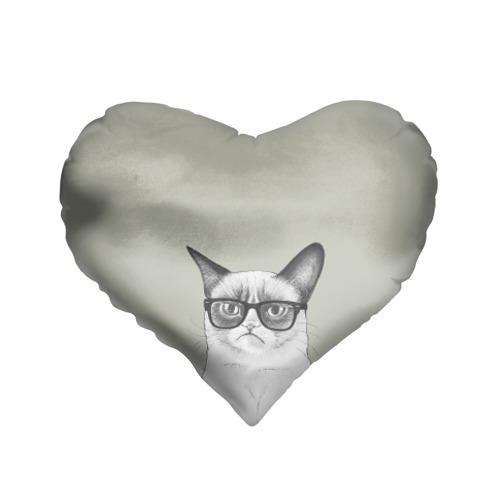Подушка 3D сердце  Фото 01, Кот - хипстер