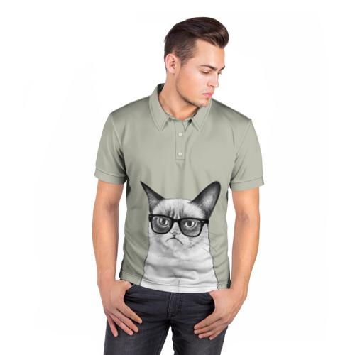 Мужская рубашка поло 3D  Фото 05, Кот - хипстер