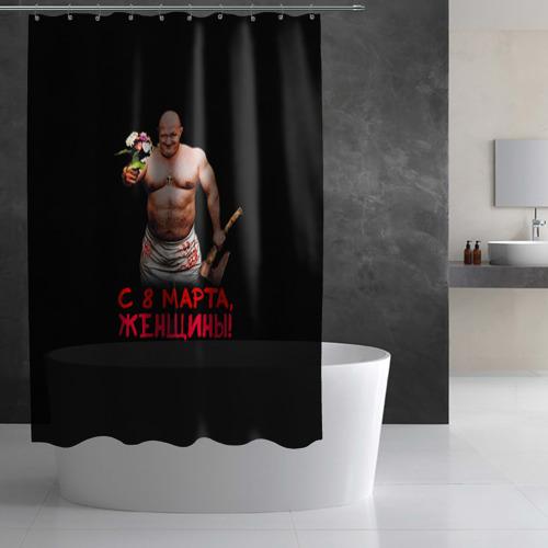 Штора 3D для ванной  Фото 03, С 8 марта