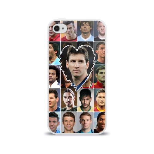 Чехол для Apple iPhone 4/4S силиконовый глянцевый Лионель Месси - лучший Фото 01