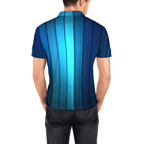 Мужская рубашка поло 3D  Фото 04, Blue lines