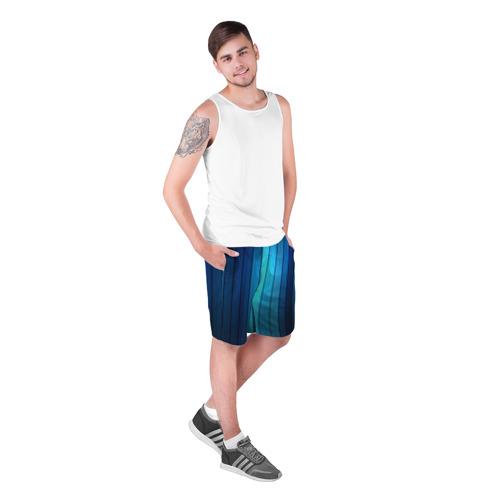 Мужские шорты 3D  Фото 03, Blue lines