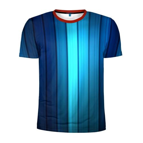Мужская футболка 3D спортивная Blue lines
