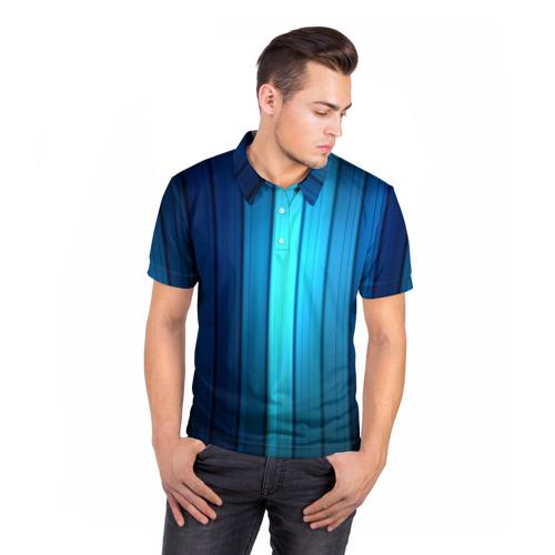 Мужская рубашка поло 3D  Фото 05, Blue lines
