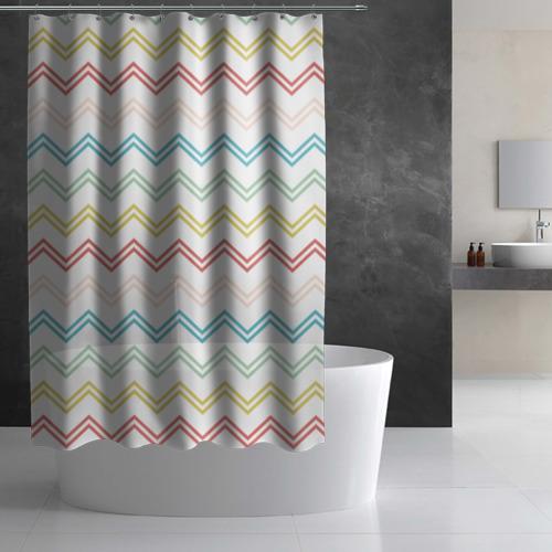 Штора 3D для ванной Зигзаги Фото 01