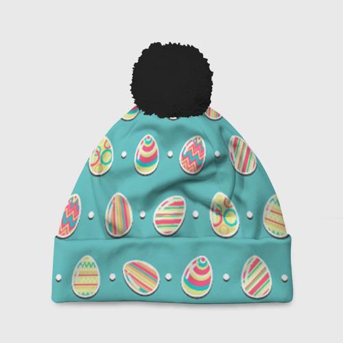 Шапка 3D c помпоном Пасхальные яйца