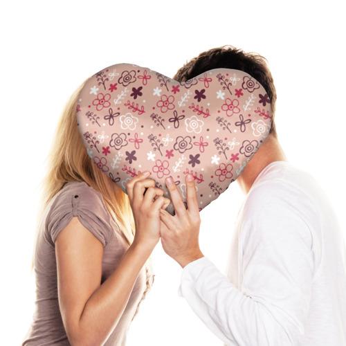 Подушка 3D сердце  Фото 03, Цветочки