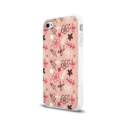 Чехол для Apple iPhone 4/4S силиконовый глянцевый  Фото 03, Цветочки