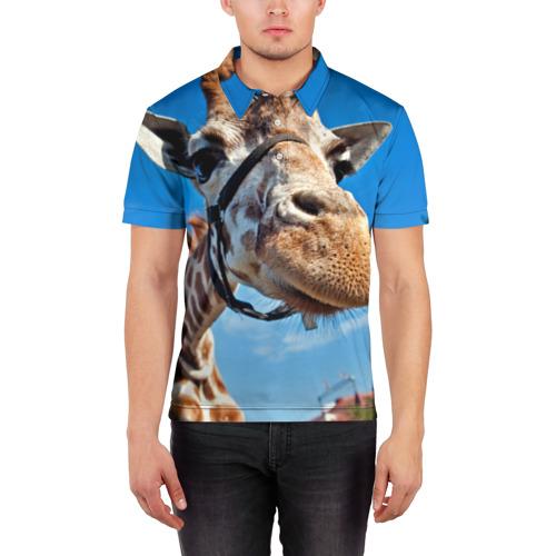 Мужская рубашка поло 3D  Фото 03, Прикольный жираф