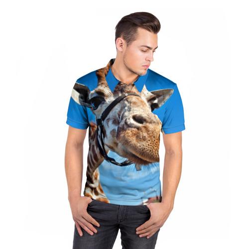 Мужская рубашка поло 3D  Фото 05, Прикольный жираф