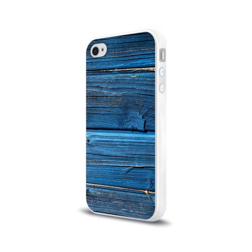 Чехол для Apple iPhone 4/4S силиконовый глянцевый Голубые доски Фото 01