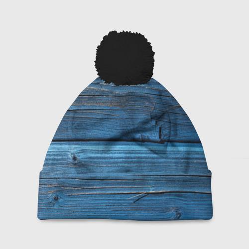Шапка 3D c помпоном Голубые доски