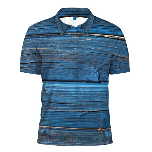 Мужская рубашка поло 3D  Фото 01, Голубые доски
