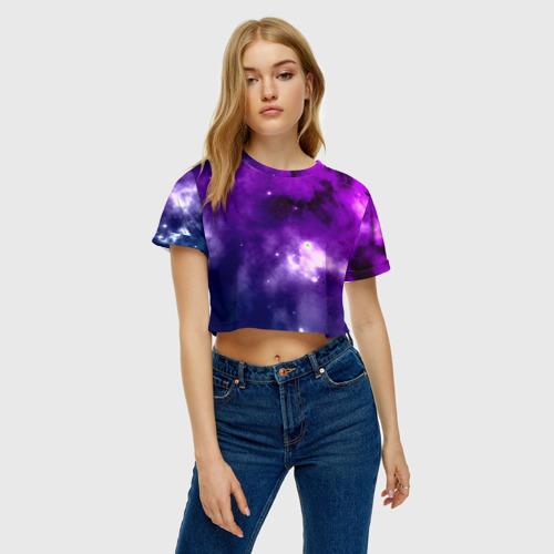 Женская футболка 3D укороченная  Фото 04, Космос