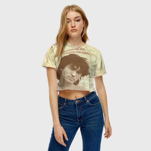 Женская футболка 3D укороченная  Фото 04, Цой