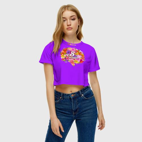Женская футболка 3D укороченная  Фото 04, С 8 Марта