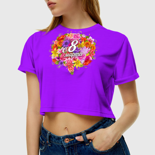 Женская футболка 3D укороченная  Фото 01, С 8 Марта
