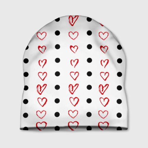 Шапка 3D Сердца и точки