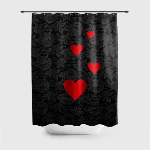 Штора 3D для ванной Кружево и сердца Фото 01