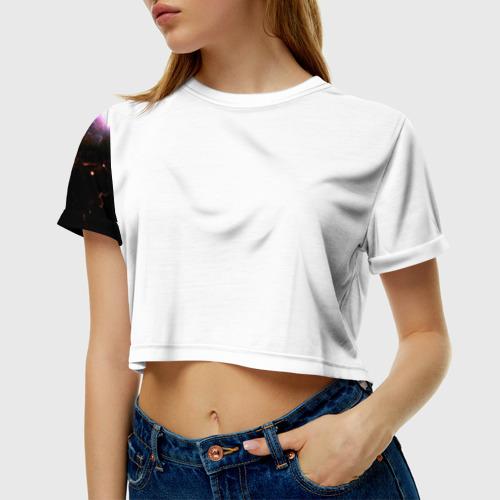 Женская футболка 3D укороченная  Фото 01, Космос