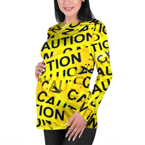Женский лонгслив 3D для беременных  Фото 01, Caution