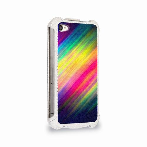 Чехол для Apple iPhone 4/4S flip  Фото 02, Радужные полосы