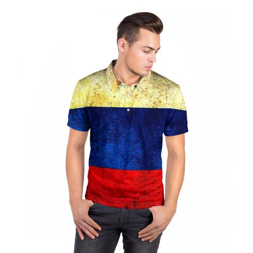 Мужская рубашка поло 3D  Фото 05, Триколор