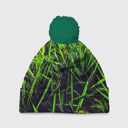 Шапка 3D c помпоном Трава