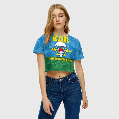 Женская футболка 3D укороченная  Фото 04, ВДВ никто кроме нас
