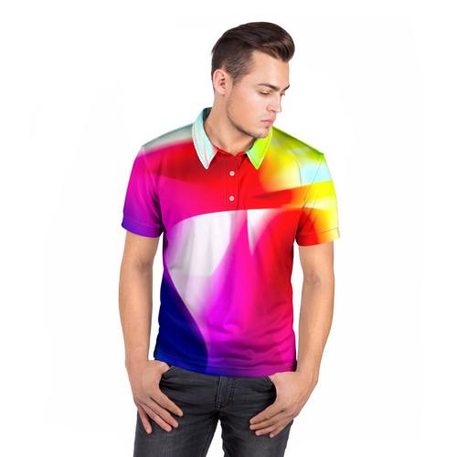 Мужская рубашка поло 3D  Фото 05, Радужный