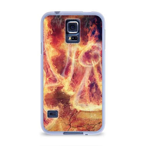 Чехол для Samsung Galaxy S5 силиконовый  Фото 01, Фигуры из пламени