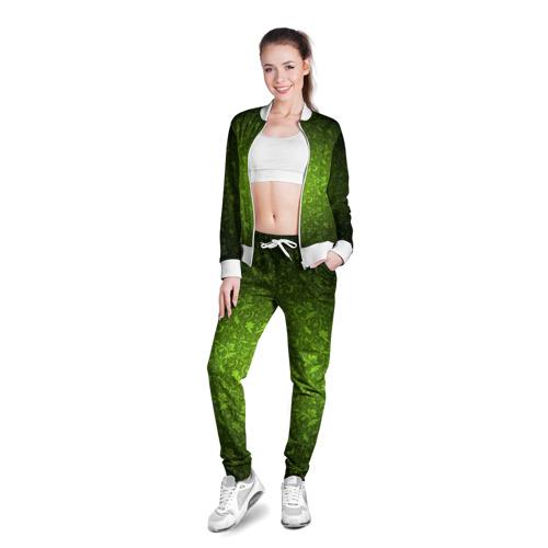 Женская олимпийка 3D  Фото 03, Зеленый узор