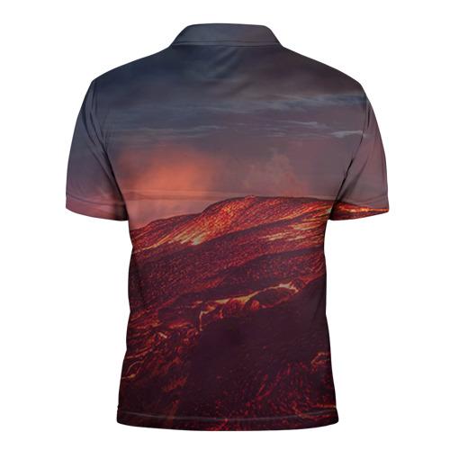 Мужская рубашка поло 3D  Фото 02, Кот на вулкане