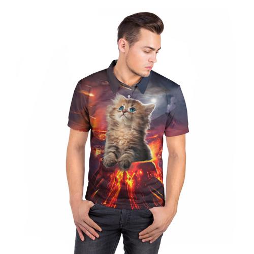 Мужская рубашка поло 3D  Фото 05, Кот на вулкане