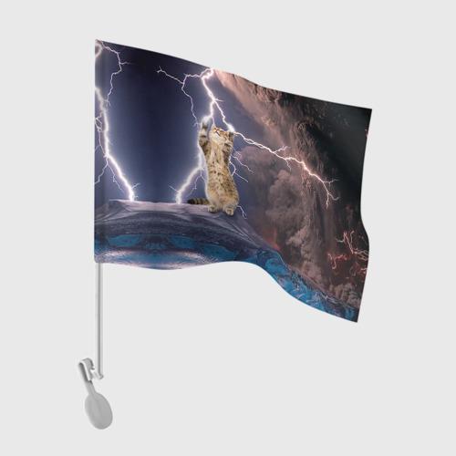 Флаг для автомобиля Кот и молния Фото 01