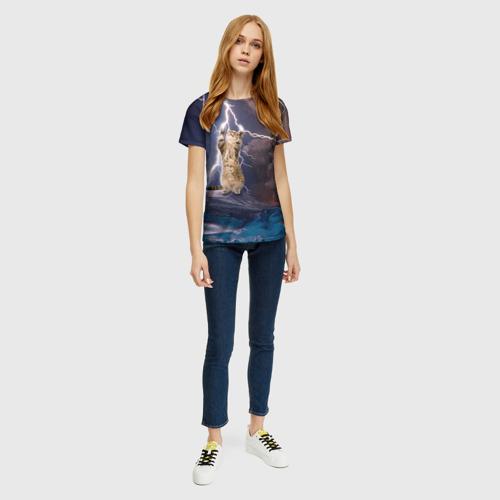Женская футболка 3D Кот и молния Фото 01
