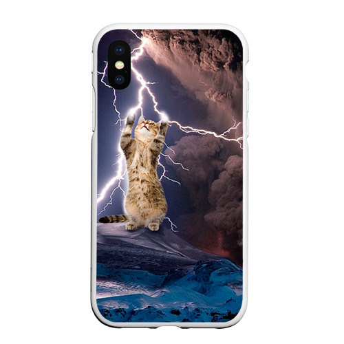 Чехол для iPhone XS Max матовый Кот и молния Фото 01