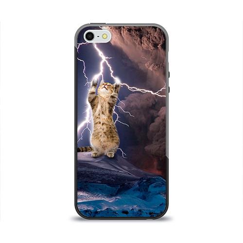 Чехол силиконовый глянцевый для Телефон Apple iPhone 5/5S Кот и молния от Всемайки