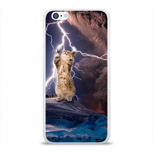 Чехол для Apple iPhone 6Plus/6SPlus силиконовый глянцевый  Фото 01, Кот и молния