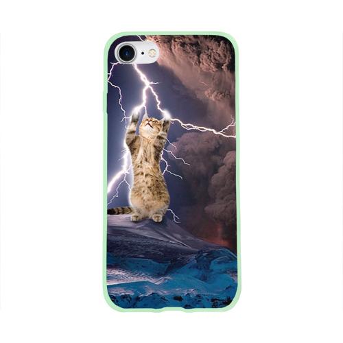 Чехол для Apple iPhone 8 силиконовый глянцевый Кот и молния Фото 01