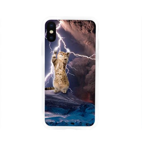 Чехол для Apple iPhone X силиконовый глянцевый  Фото 01, Кот и молния