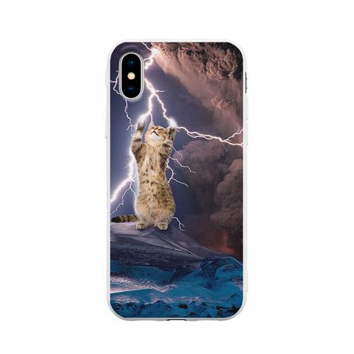 Чехол для iPhone X матовый Кот и молния Фото 01