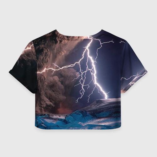 Женская футболка Crop-top 3D Кот и молния Фото 01