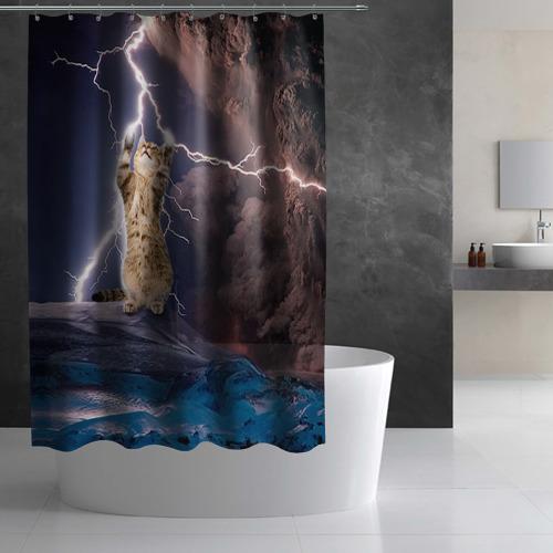 Штора 3D для ванной Кот и молния Фото 01