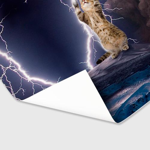 Бумага для упаковки 3D Кот и молния Фото 01