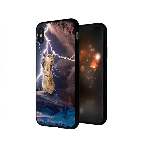 Чехол для Apple iPhone X силиконовый глянцевый Кот и молния Фото 01
