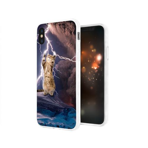 Чехол для Apple iPhone X силиконовый глянцевый  Фото 03, Кот и молния