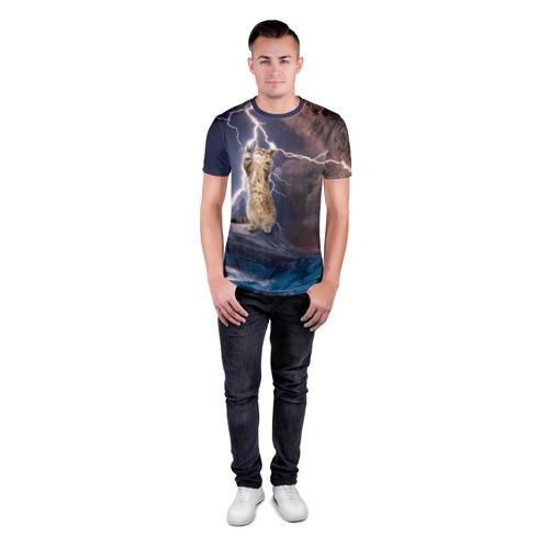Мужская футболка 3D спортивная  Фото 04, Кот и молния