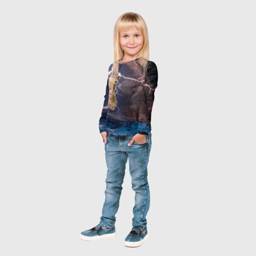 Детский лонгслив 3D Кот и молния Фото 01
