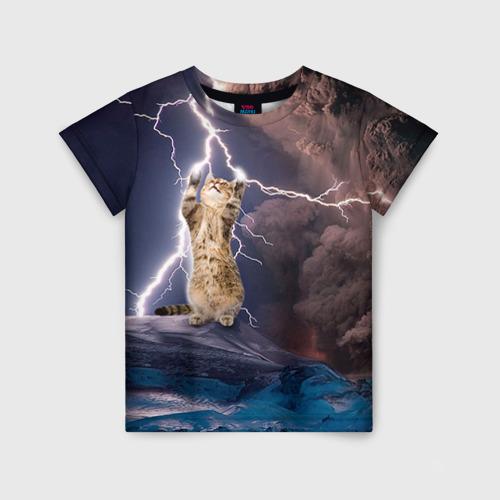 Детская футболка 3D Кот и молния Фото 01